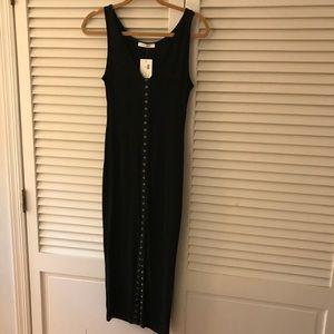 Black midi button down dress L 🖤